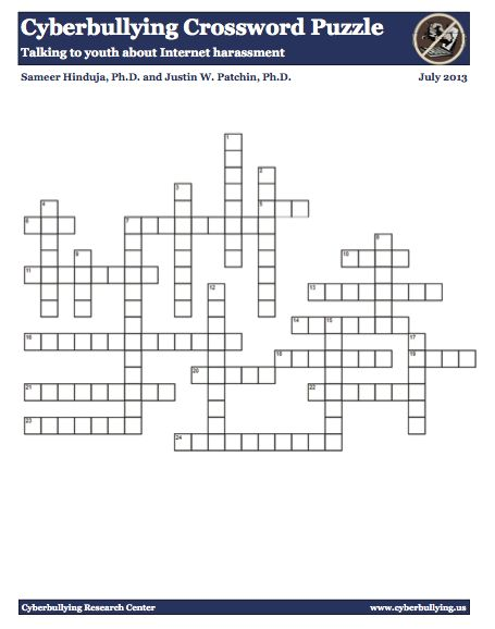 Worksheet Cyber Bullying Worksheets to be high school students and internet safety on pinterest a cyberbullying crossword puzzle wonderful tool used engage youth in discussion about