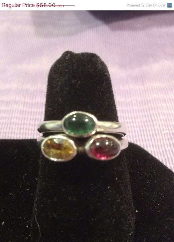 ON SALE Amethyst Citrine Peridot Sterling Rings Stackable SIZE 6 Silver 925 Purple Yellow Green Stones Vintage Southwestern Jewelry Gift on Etsy, $52.20