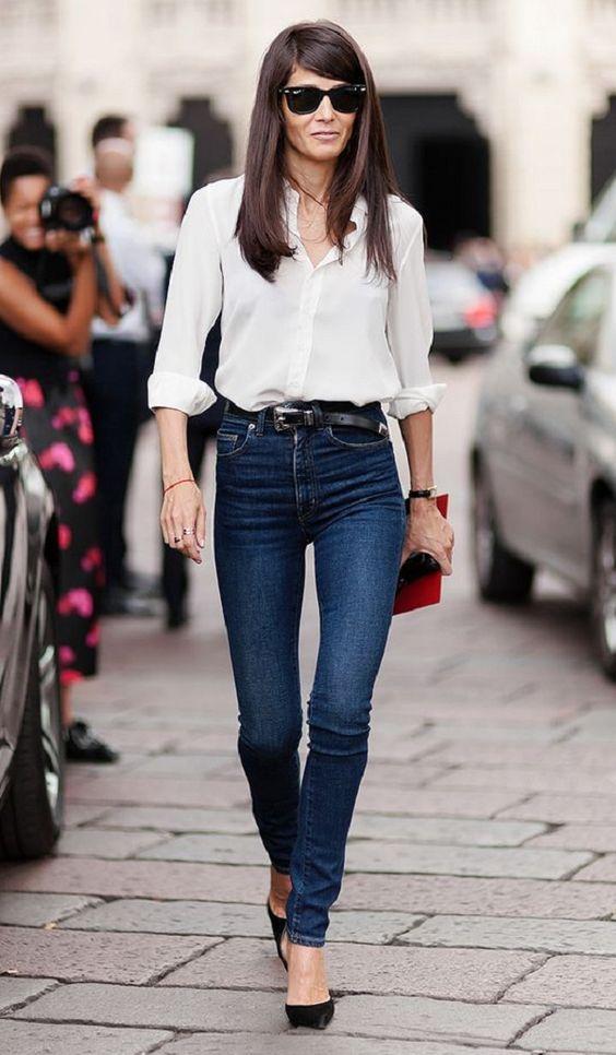 look calça jeans skinny cintura alta e camisa branca: