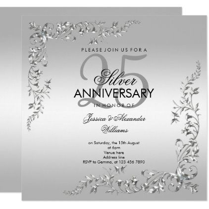 Silver Decoration 25th Wedding Anniversary Invitation Zazzle Com In 2020 Anniversary Invitations Wedding Anniversary Invitations Silver Wedding Anniversary Party