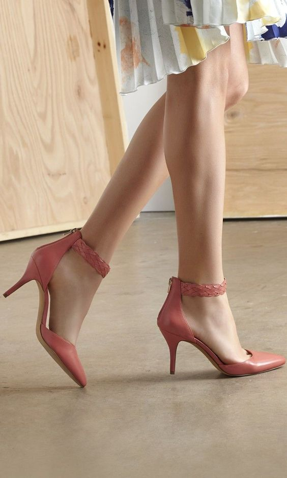 Coral Braided Ankle Strap Pumps ♥