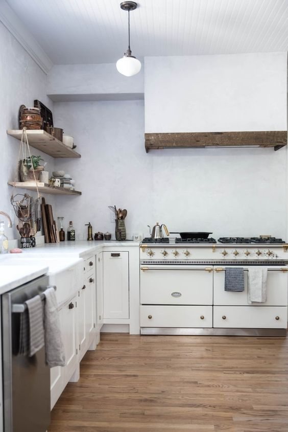 Kitchen decorating ideas from a modern farmhouse white kitchen with Lacanche Sully range. Beth Kirby of Local Milk is the homeowner and Jersey Ice Cream Co. is the designer.#kitchen #modernfarmhouse #kitchen #farmhousekitchen #lacanche #sully #venetianplaster