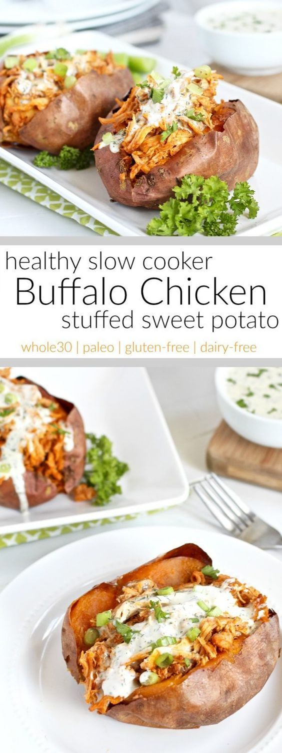 Healthy Slow Cooker Buffalo Chicken Stuffed Sweet Potato | A hearty and healthy, whole30-friendly, slow cooker buffalo chicken that's shredded and stuffed inside of a perfectly baked or grill sweet potato. A recipe for all you buffalo chicken fans | Paleo | Gluten-free | Dairy-free | Whole30