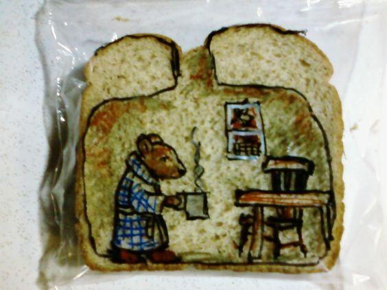 El arte del sándwich del recreo-Laferriere draws on sandwich bags