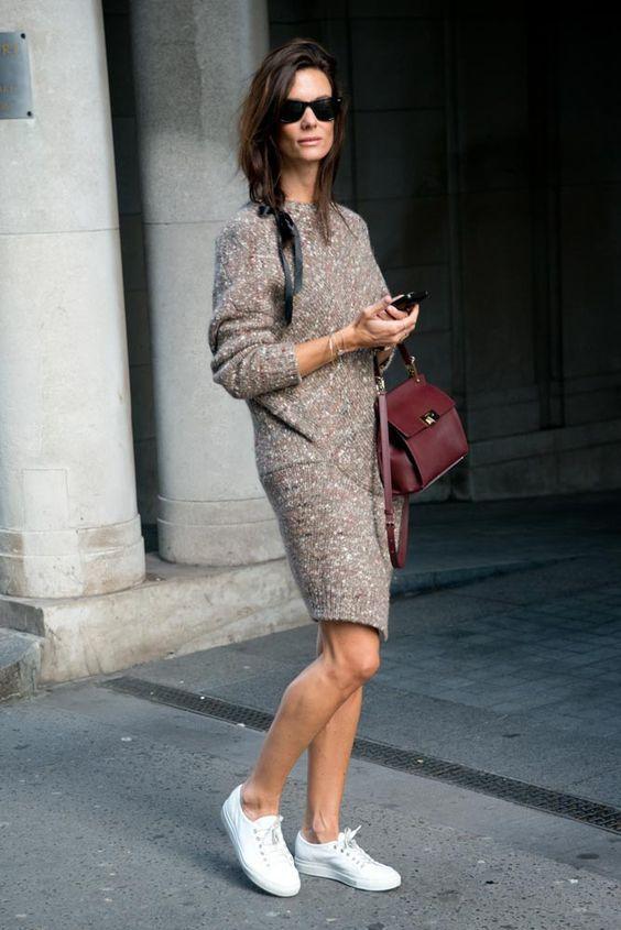 2021 Uzun Triko Kazak Elbise Kombinleri Kahverengi Kisa Asimetrik Etekli Elbise Beyaz Spor Ayakkabi Gunluk Tarzlar Elbise Moda