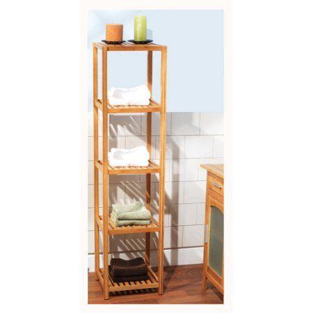 Bamboo 5-Tier Vertical Shelf  23035NAT shower room