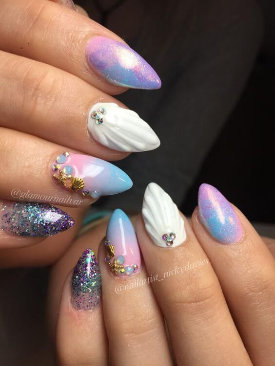 50 Best Mermaid Nail Arts To Express Your Personality Mermaid Nail Art Mermaid Nails Nail Designs