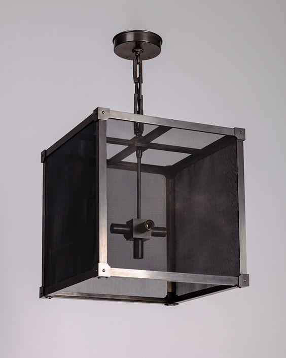 Custom Marlowe Lantern with brass mesh panels
