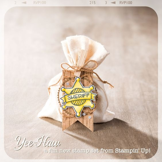 This fun little treat bag would be a great party favor!: Ideas Stampinup, Yee Haw Stampin, Cards Yee Haw