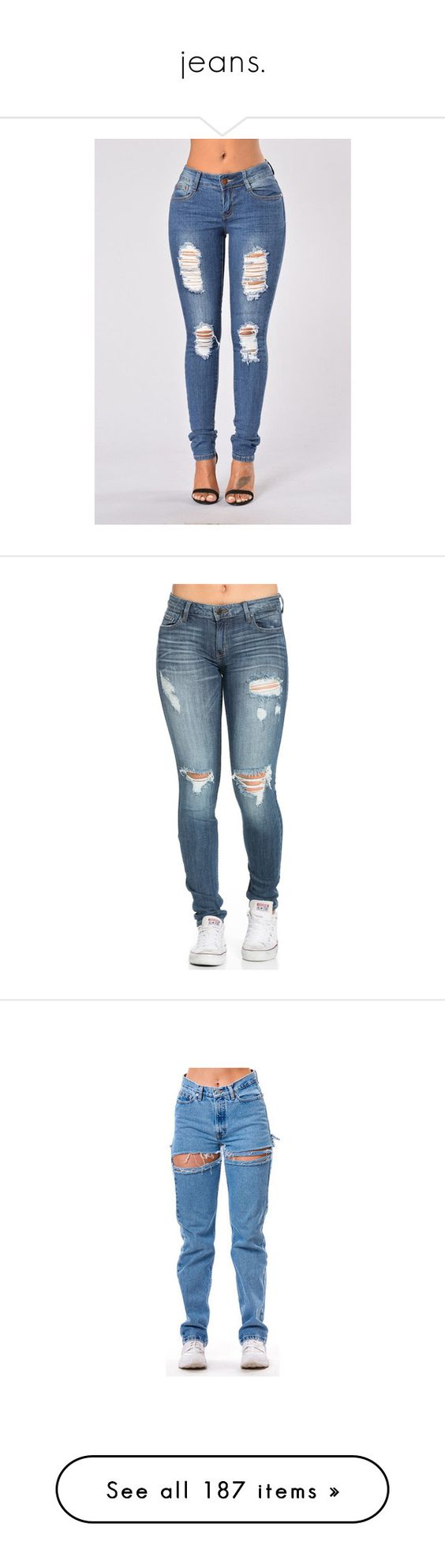 """""""jeans."""" by yeauxbriana ❤ liked on Polyvore featuring jeans, bottoms, skinny jeans, distressed skinny jeans, torn jeans, distressed jeans, destroyed jeans, pants, folded jeans and denim jeans"""