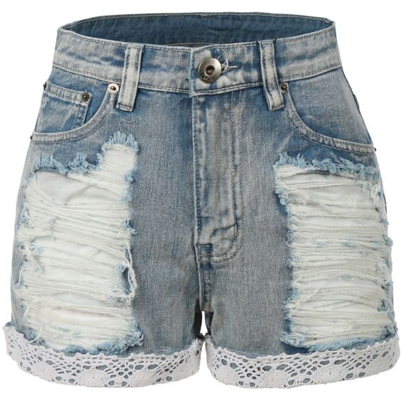 LE3NO Womens High Waisted Distressed Denim Jean Shorts (18.925 CLP ...