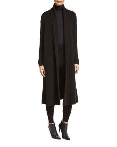 DKNY Cashmere-Blend Maxi Cardigan Black. dkny cloth  | Dkny