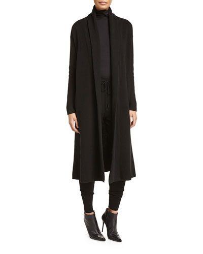 DKNY Cashmere-Blend Maxi Cardigan Black. dkny cloth  | Dkny