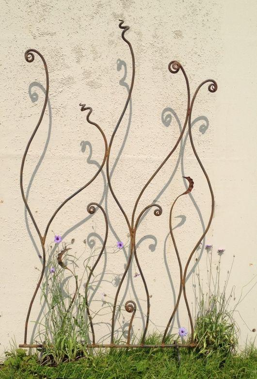 rusty metal trellis/screen twisted metal fern: