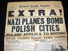 SEPT. 1, 1939 GRINNELL IOWA NEWSPAPER: WWII BEGINS - NAZI GERMANY INVADES POLAND