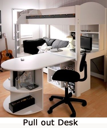 Loft bed with desk and sofa small bedroom design for Loft bed with sofa and desk
