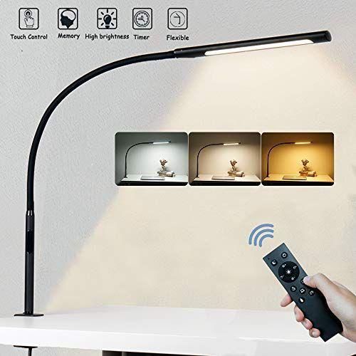 Lampe De Bureau Eyocean 12w Avec Telecommande Led Protection Des Yeux Temperature De Couleur Regla En 2020 Lampe De Bureau Lampe A Bras Articule Temperature De Couleur