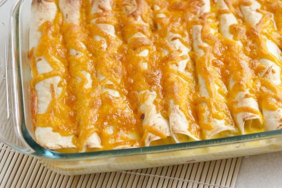 Breakfast enchiladas with ham and peppers. Easy to make the night before