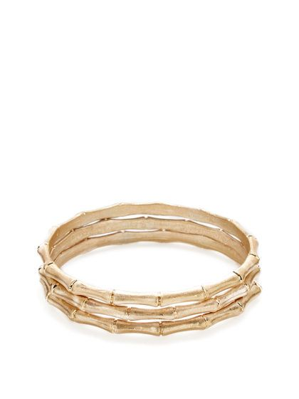 Set Of 3 Gold Bamboo-Shaped Bangle Bracelets by Ava