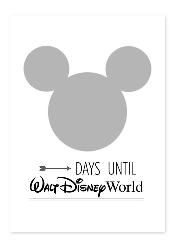 Free Walt Disney World countdown printable from All for the Memories - put in a 5x7 frame and change the numbers with a dry erase marker eac...