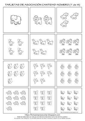 Fichas De Educacion Preescolar Tarjetas De Asociacion Cantidad Grafia Numeros 1 Al 12 Actividades De Matematicas Preescolares Matematicas Para Ninos Tarjetas