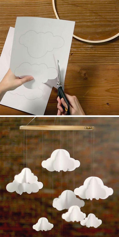 DIY Paper Cloud Mobile via HGTV: