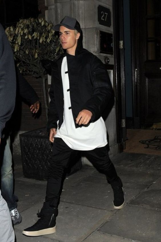 Justin Bieber wearing  James Perse Double Face Nylon Trucker Hat, Fear of God Military Sneakers: