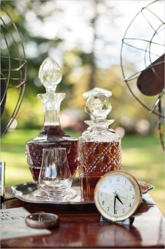 crystal decanters for whiskey #masculinewedding #weddingdecor #weddingchicks http://www.weddingchicks.com/2014/04/03/masculine-wedding-ideas/