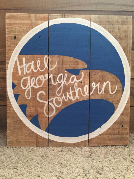 Georgia southern reclaimed wood sign, handmade, hand lettered, eagles, GATA…