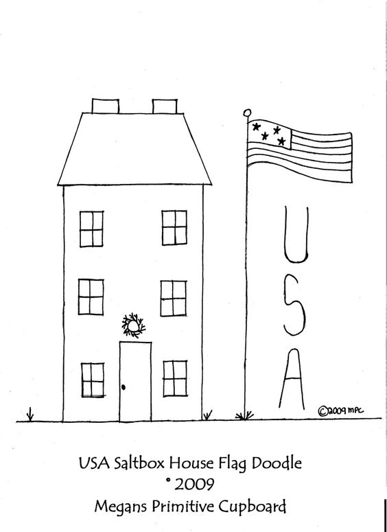 Primitive Saltbox House Patterns   to love this wonderful doodle pattern! It features a saltbox house ...