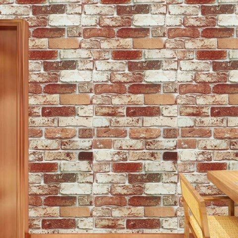 Retro Brick Pattern Pvc Waterproof Self Adhesive Wallpaper Red Brick Wallpaper Brick Wallpaper Wallpaper Living Room