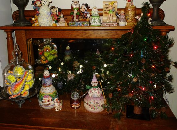 some of my jim shore, collection.  The silly tree is because we had just adopted our dog and he was not fully trained not to chew.  We opted for one of my kids trees when they were little