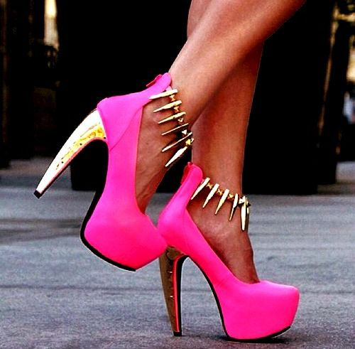 The hot pink! The gold heel! The gold spike trimmed straps ...
