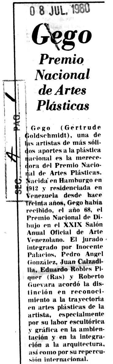 Premio Nacional de Artes Plásticas para Gego. Publicado el 8 de julio de 1980.