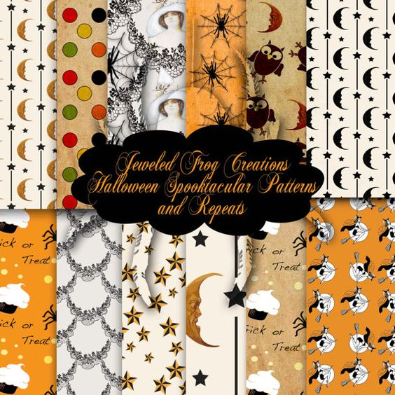 Assorted Halloween Patterns and Repeats 12x12 by FrogsAttic, $5.00