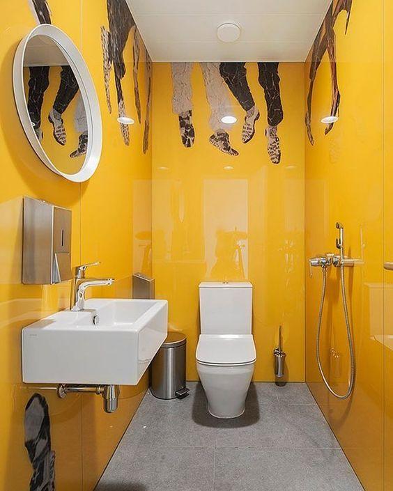 45 Small Yellow Bathroom Decorating Ideas Yellow Bathroom Decor Bathroom Design Small Trendy Bathroom Designs
