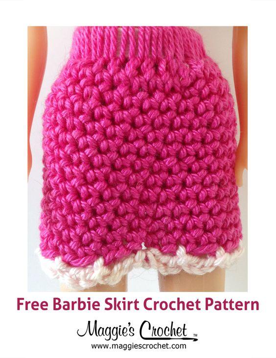 Easy Crochet Doll Skirt Pattern : Doll Skirt Free Crochet Pattern - Barbie kleding haken ...
