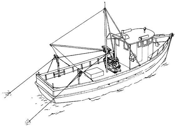 small fishing trawler rigging
