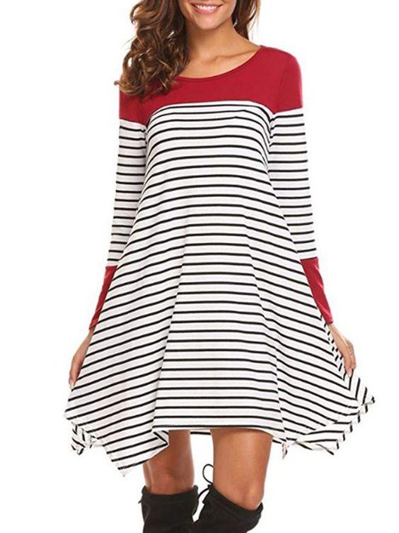 Round Neck Striped Shift Dress