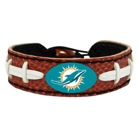 Miami Dolphins Laced Football Leather Bracelet