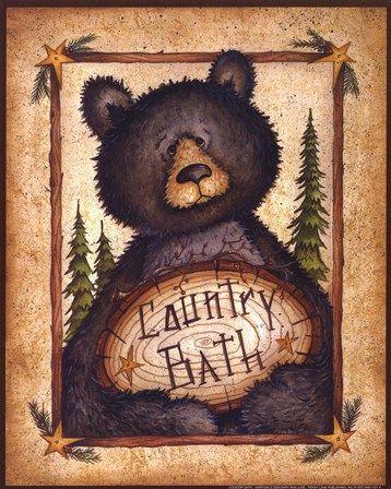 Country Bath by Mary Ann June art print | Bear Cabin Decor
