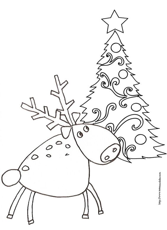 Coloriages des rennes de no l deer trees and christmas - Coloriage de renne ...