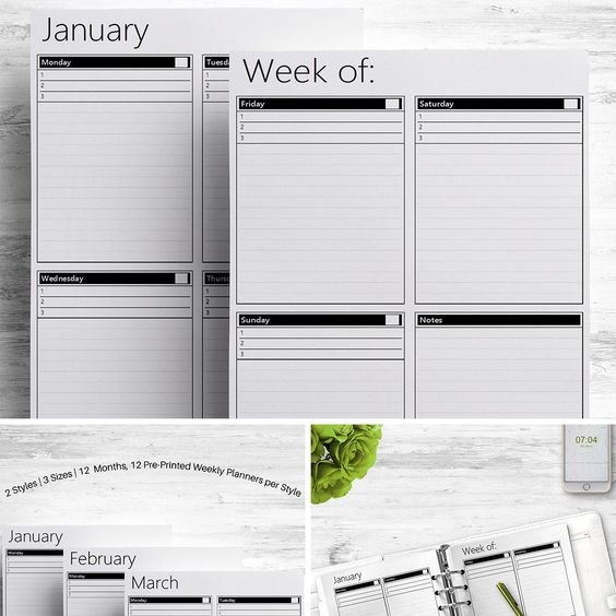 Yearly Overview Planner Printable, Lined, A4 A5 US Letter, Calendar