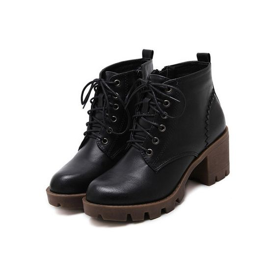 Black Distressed PU Lace Up Rubber Soled Chunky Boots (£33) ❤ liked on Polyvore featuring shoes, boots, distressed lace up boots, lace up shoes, chunky black shoes, lace up boots and kohl boots