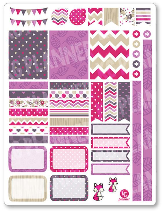 Volpe rosa decorazione Kit / settimanale diffusione Planner adesivi per Erin…