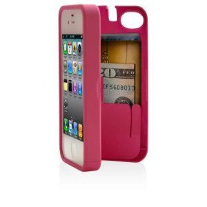 Pink Case for iPhone 4/4S with built-in storage space for credit cards/ID/money, by EYN (Everything You Need)
