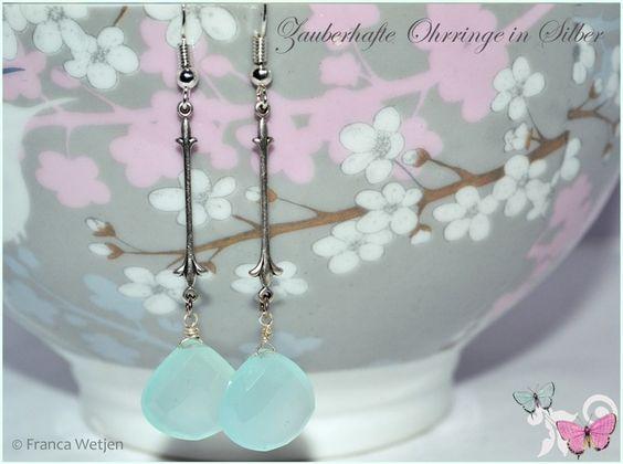 Chalcedon - Edle Ohrhänger Chalcedon 925 Silber aqua mint lang - ein Designerstück von Zauberhafte-Ohrringe-in-Silber bei DaWanda