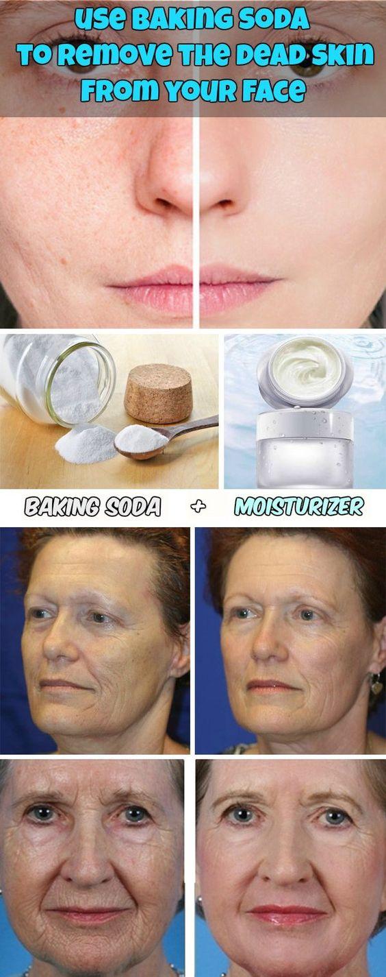Verwenden Sie Backpulver, um die tote Haut vom Gesicht zu entfernen Wenn Ihr Gesicht trocken und schuppig ist, lassen Sie die teuren Peeling Sie im Laden gekauft haben, und ändern Sie es mit einem wirtschaftlichen Paket Backpulver.