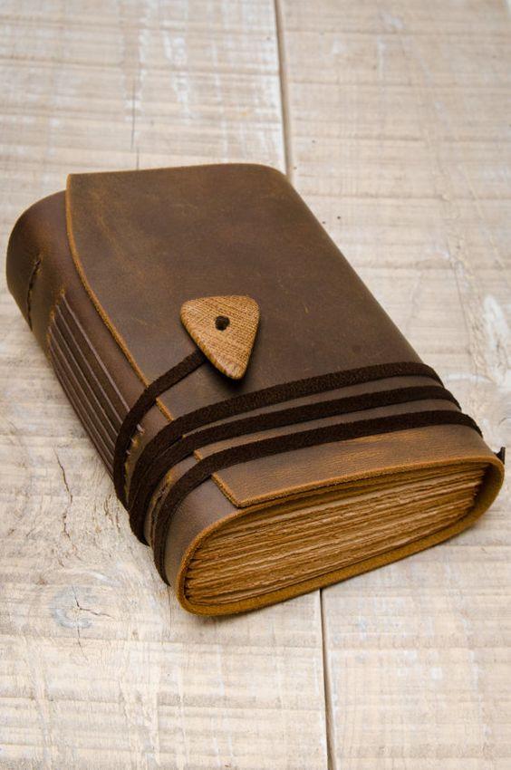 Cuero rústico diario, Handbound diario, diario, cuaderno de cuero