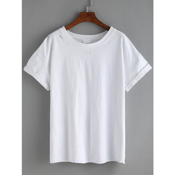 White Cuffed Ripped T-shirt (74 MAD) ❤ liked on Polyvore featuring tops, t-shirts, white, destroyed t shirt, distressed white t shirt, white round neck t shirt, white cotton tee and round neck t shirt